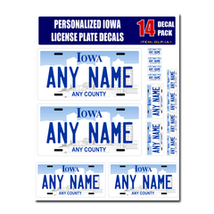 Personalized Iowa License Plate Decals - Stickers Version 1