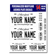 Personalized Maryland License Plate Decals - Stickers Version 1