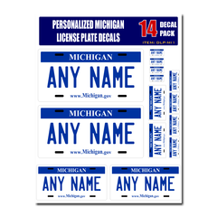 Personalized Michigan License Plate Decals - Stickers Version 1