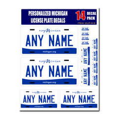 Personalized Michigan License Plate Decals - Stickers Version 3