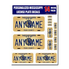 Personalized Mississippi License Plate Decals - Stickers Version 3