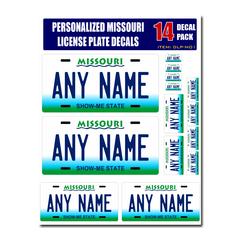 Personalized Missouri License Plate Decals - Stickers Version 1