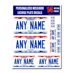 Personalized Missouri License Plate Decals - Stickers Version 3
