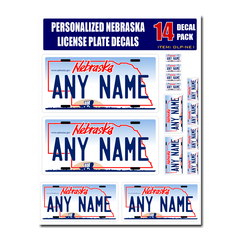 Personalized Nebraska License Plate Decals - Stickers Version 1