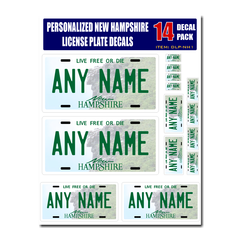 Personalized New Hampshire License Plate Decals - Stickers Version 1