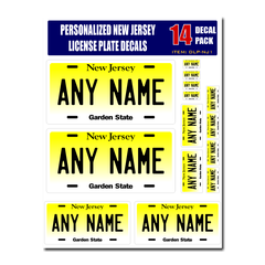Personalized New Jersey License Plate Decals - Stickers Version 1