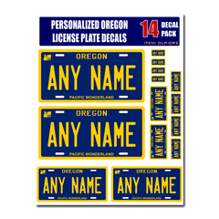 Personalized Oregon License Plate Decals - Stickers Version 2