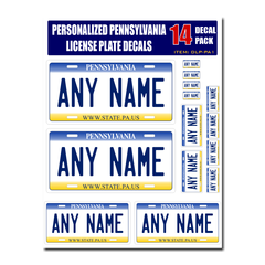 Personalized Pennsylvania License Plate Decals - Stickers Version 1