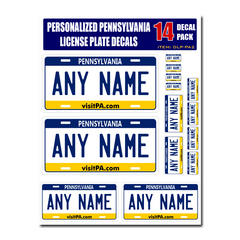 Personalized Pennsylvania License Plate Decals - Stickers Version 2