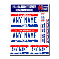 Personalized South Dakota License Plate Decals - Stickers Version 1