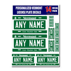 Personalized Vermont License Plate Decals - Stickers Version 1