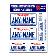 Personalized Washington License Plate Decals - Stickers Version 1