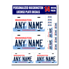 Personalized Washington License Plate Decals - Stickers Version 2