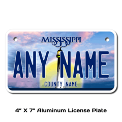 Personalized Mississippi 4 X 7 License Plate