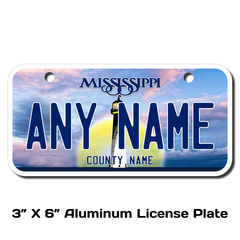 Personalized Mississippi 3 X 6 License Plate