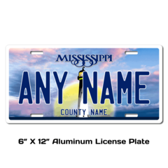 Personalized Mississippi 6 X 12 License Plate