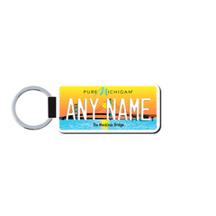 Personalized Michigan 1.5 X 3 Key Ring License Plate