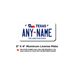 Personalized Texas 2 X 4 License Plate