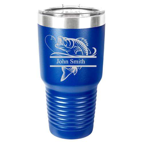 Personalized Laser Engraved 30 oz Insulated Tumbler -Fishing / Fisherman