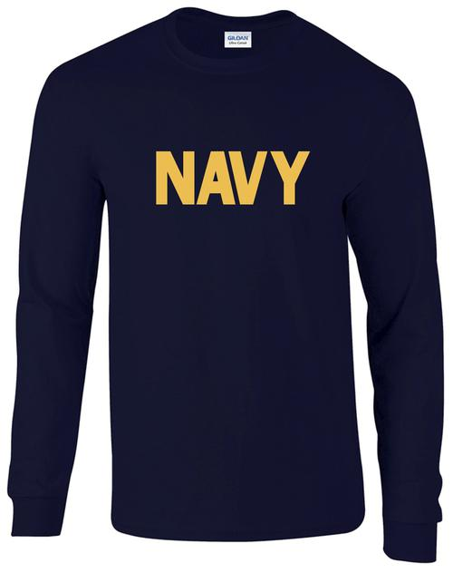 8a3a1e57fa1 US Navy Long Sleeve T-Shirt Navy Blue w  Athletic Gold Imprint -  Teamlogo.com