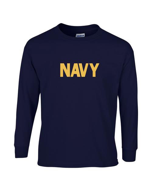 46d5e403c95e Youth US Navy Long Sleeve T-Shirt - Teamlogo.com | Custom Imprint and  Embroidery