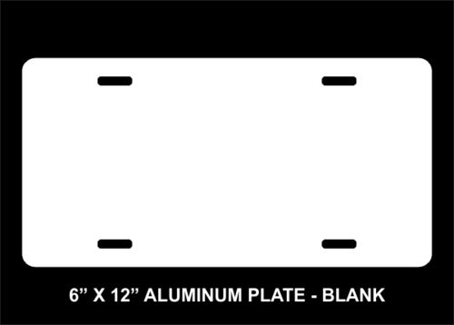 Blank 6 X 12 Aluminum License Plate