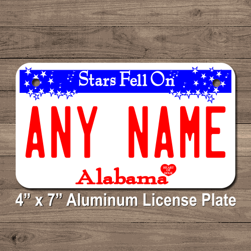 Personalized Alabama License Plate for Bicycles, Kid's Bikes, Carts, Cars or Trucks