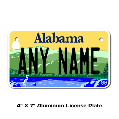 Personalized Alabama 4 X 7 License Plate