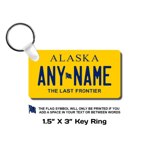 Personalized Alaska 1.5 X 3 Key Ring License Plate