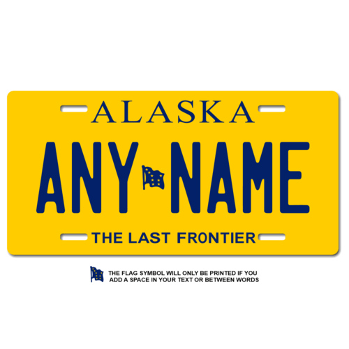 Personalized Alaska License Plate for Bicycles, Kid's Bikes, Carts, Cars or Trucks
