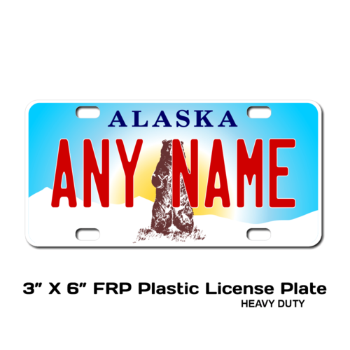 Personalized Alaska 3 X 6 Plastic License Plate