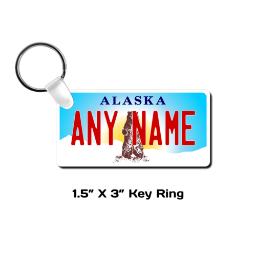 Personalized Alaska 1.5 X 3 Key Ring License Plate