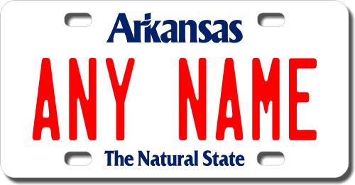 Personalized Arkansas License Plate for Bicycles, Kid's Bikes, Carts, Cars or Trucks