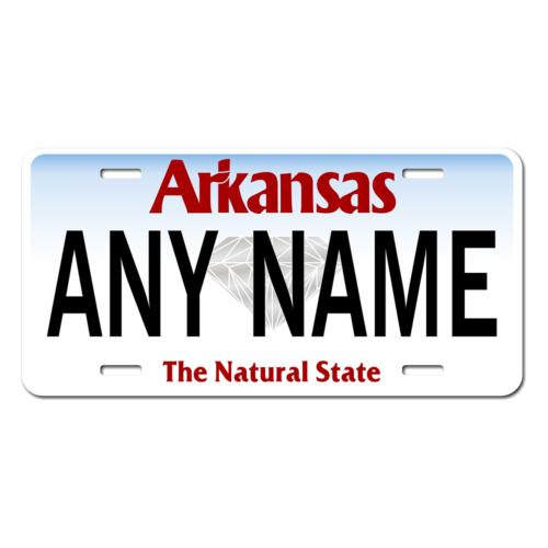 Personalized Arkansas License Plate for Bicycles, Kid's Bikes, Carts, Cars or Trucks Version 3