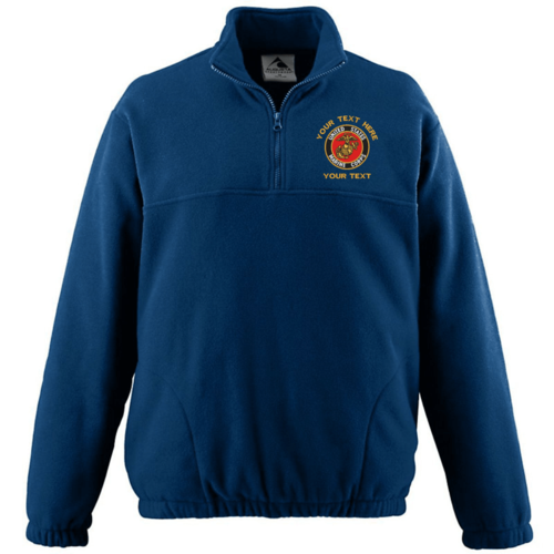 Custom Embroidered Military Logo QTR Zip Fleece Jacket - Free Shipping