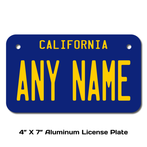 Personalized California 4 X 7 License Plate