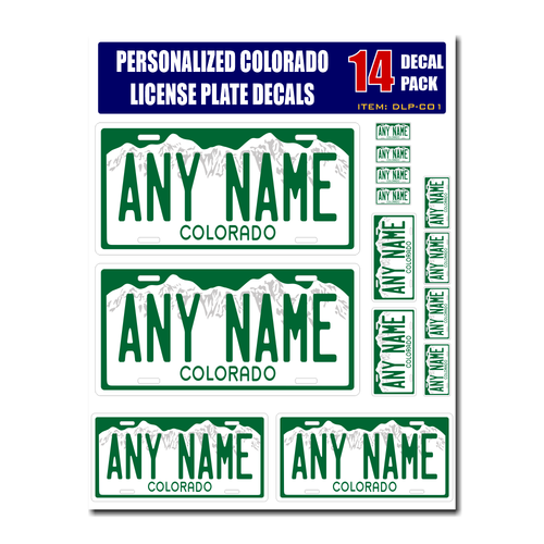 Personalized Colorado License Plate Decals - Stickers Version 1