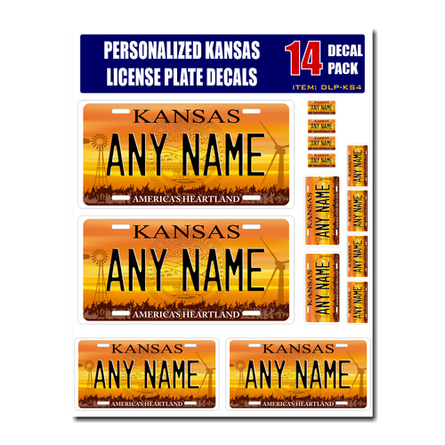Personalized Kansas License Plate Decals - Stickers Version 1