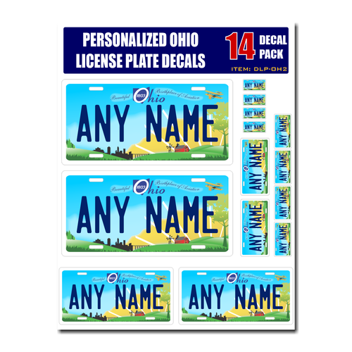 Personalized Ohio License Plate Decals - Stickers Version 2