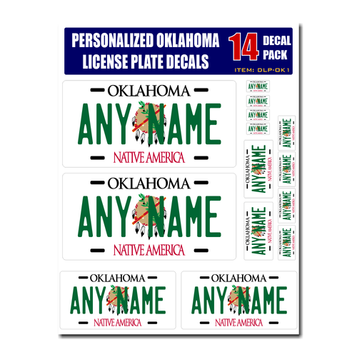 Personalized Oklahoma License Plate Decals - Stickers Version 1