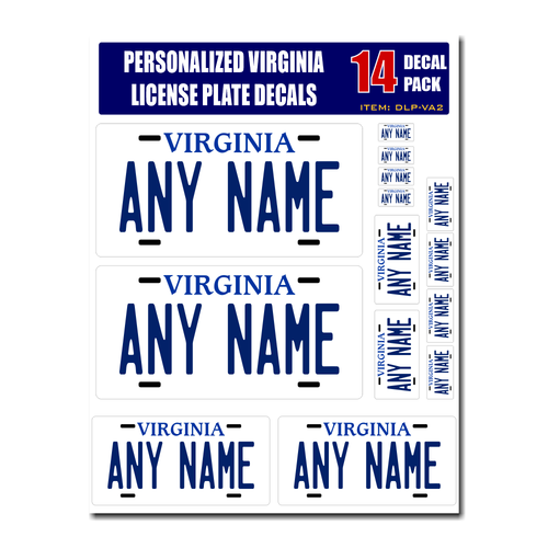 Personalized Virginia License Plate Decals - Stickers Version 2