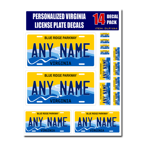 Personalized Virginia License Plate Decals - Stickers Version 4