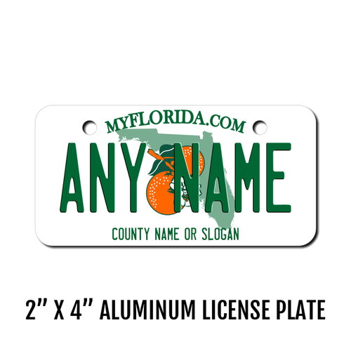 Personalized Florida 2 X 4 License Plate