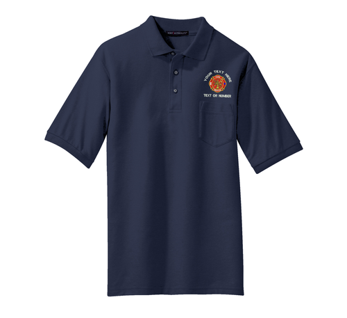 Fire Fighter EMS Silk Touch Pique Knit Pocket Shirt w/ Custom Embroidery