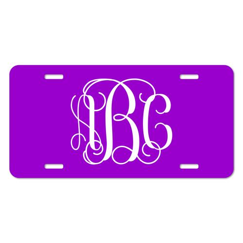 Personalized Vine Monogram Font License Plate - Sizes for Cars, Trucks, Bikes and mini cars