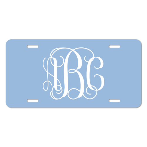 Carolina Blue Personalized Vine Monogram Font License Plate - Sizes for Cars, Trucks, Bikes and mini