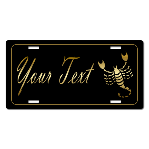 Personalized Scorpio License Plate for Bicycles, Kid's Bikes, Carts, Cars or Trucks