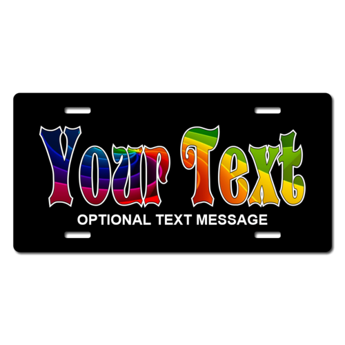 Personalized Rainbow Name License Plate for Bicycles, Kid's   Bikes, Carts, Cars or Trucks