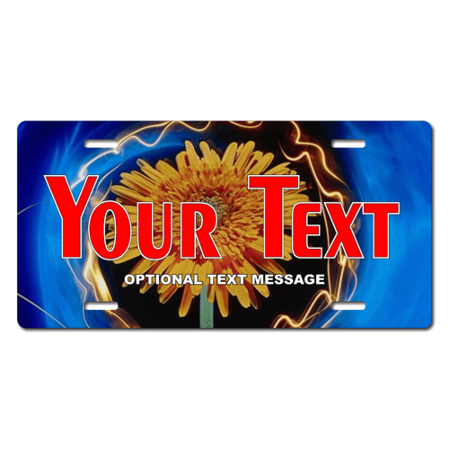 Personalized Electric Sunflower License Plate for Bicycles, Kid's Bikes, Carts, Cars or Trucks