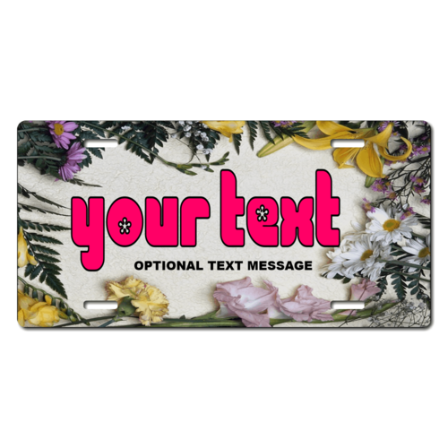Personalized Assorted Flowers License Plate for Bicycles, Kid's Bikes, Carts, Cars or Trucks